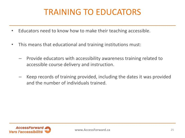Training to educators