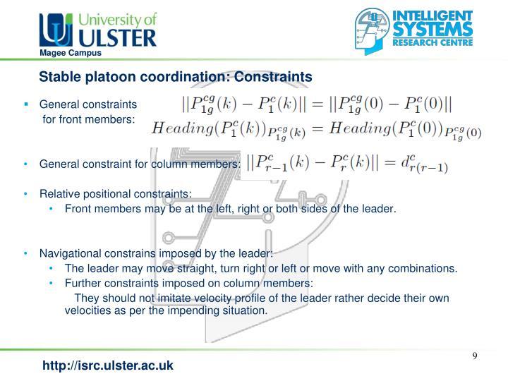 Stable platoon coordination: Constraints