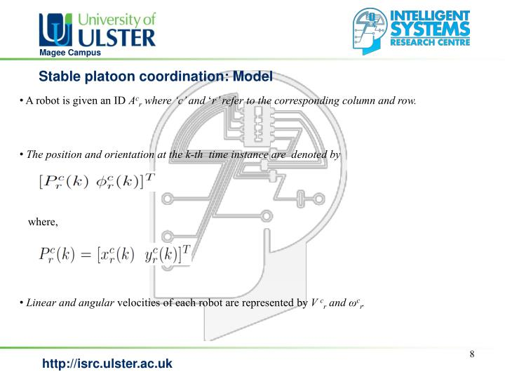 Stable platoon coordination: Model