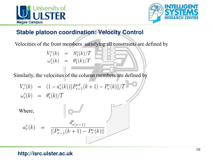 Stable platoon coordination: Velocity Control