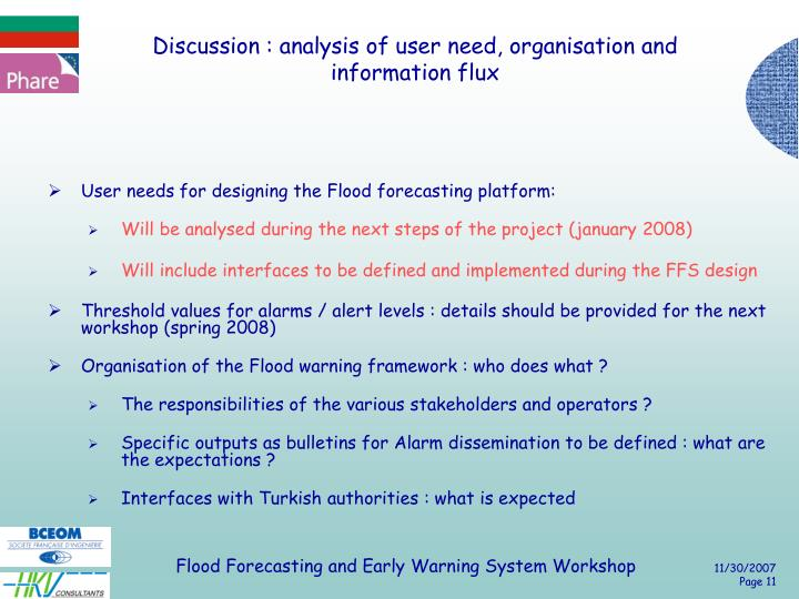 Discussion : analysis of user need, organisation and information flux