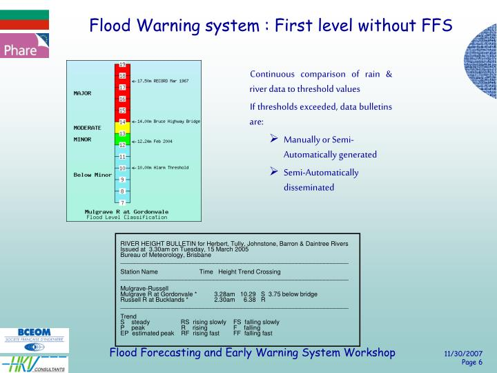 Flood Warning system : First level without FFS