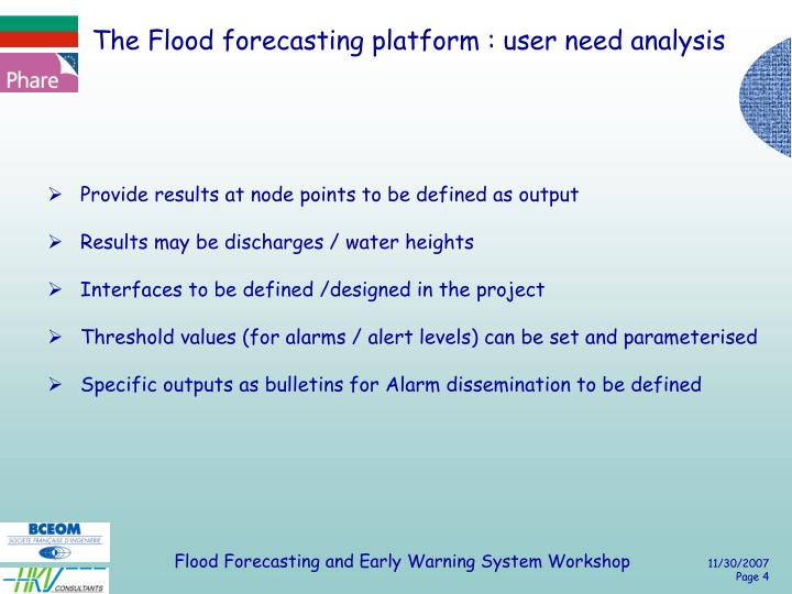 The Flood forecasting platform : user need analysis