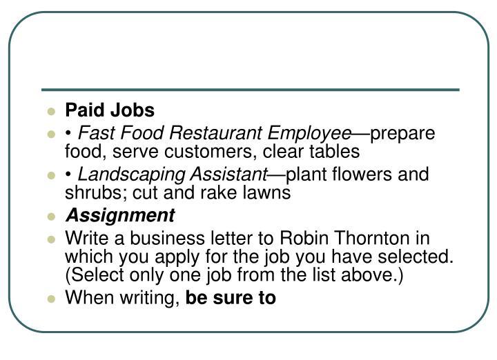 Paid Jobs