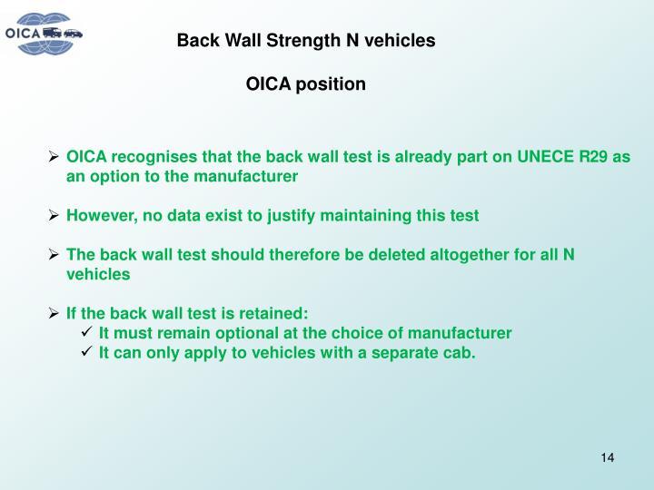 Back Wall Strength N vehicles