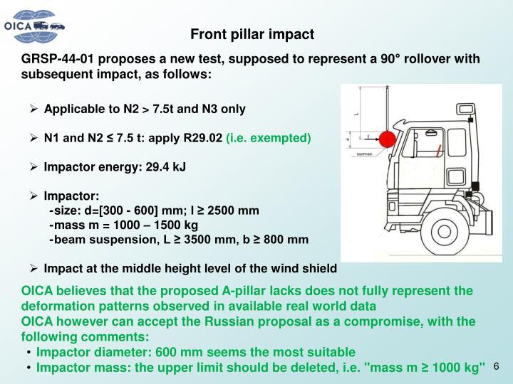 Front pillar impact
