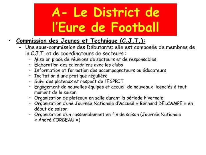 A- Le District de l'Eure de Football