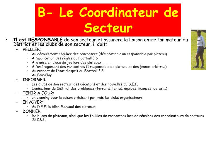 B- Le Coordinateur de Secteur
