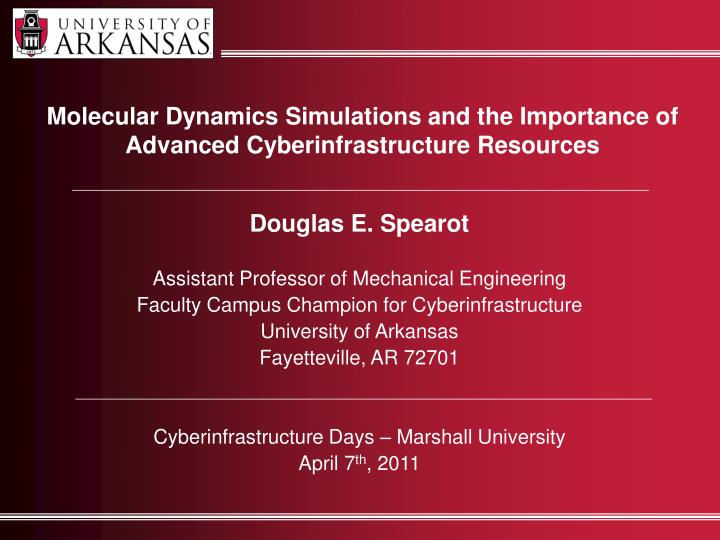 Molecular Dynamics Simulations and the Importance of
