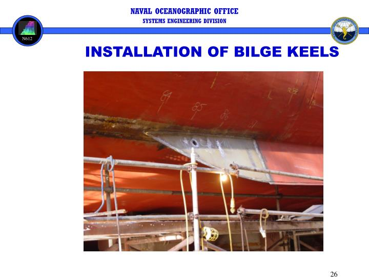 INSTALLATION OF BILGE KEELS