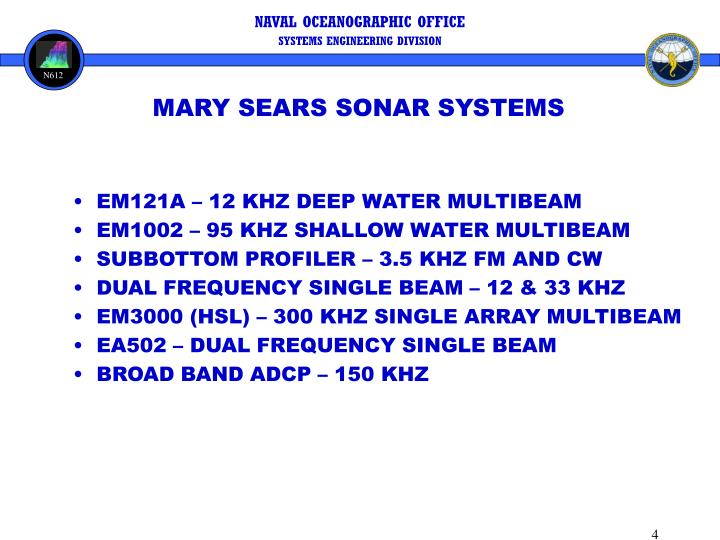 MARY SEARS SONAR SYSTEMS