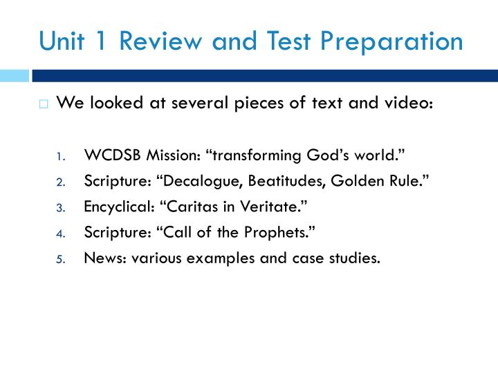 Unit 1 Review and Test Preparation