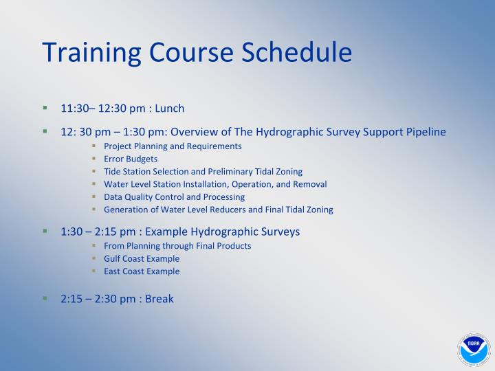 Training course schedule1