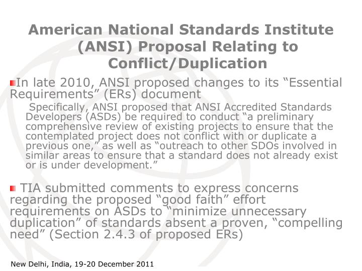 American National Standards Institute (ANSI) Proposal Relating to Conflict/Duplication