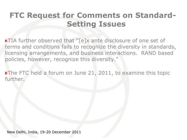 FTC Request for Comments on Standard-Setting Issues