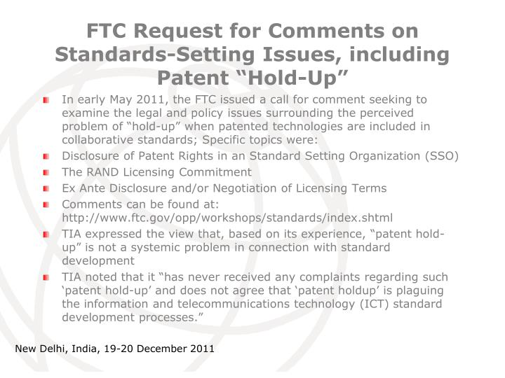 "FTC Request for Comments on Standards-Setting Issues, including Patent ""Hold-Up"""