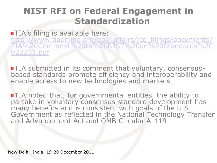 NIST RFI on Federal Engagement in Standardization