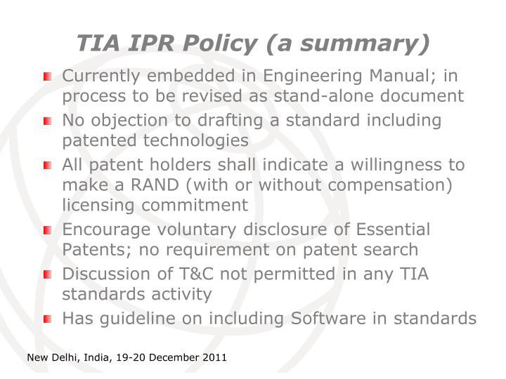TIA IPR Policy (a summary)