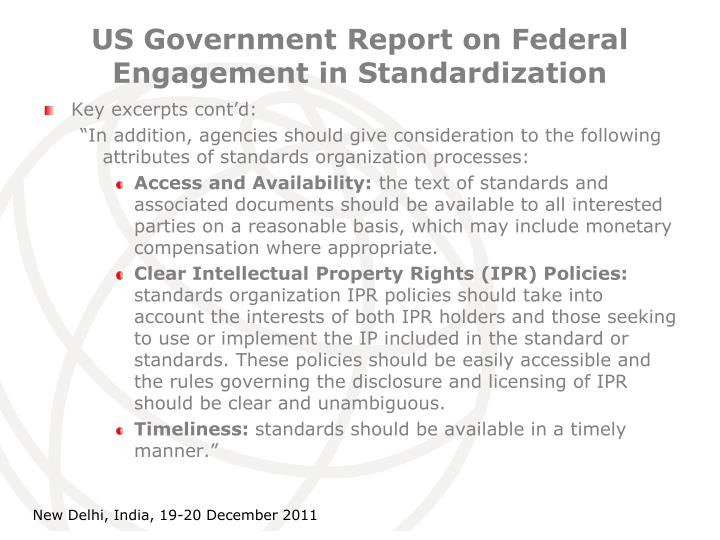 US Government Report on Federal Engagement in Standardization