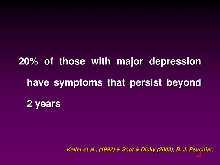20% of those with major depression have symptoms that persist beyond 2 years