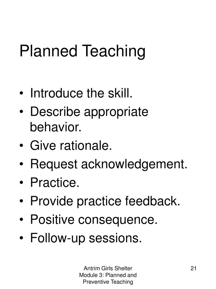 Planned Teaching