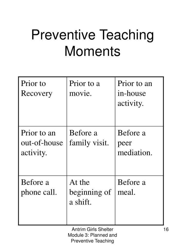 Preventive Teaching Moments