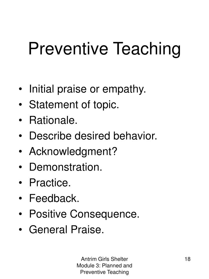 Preventive Teaching