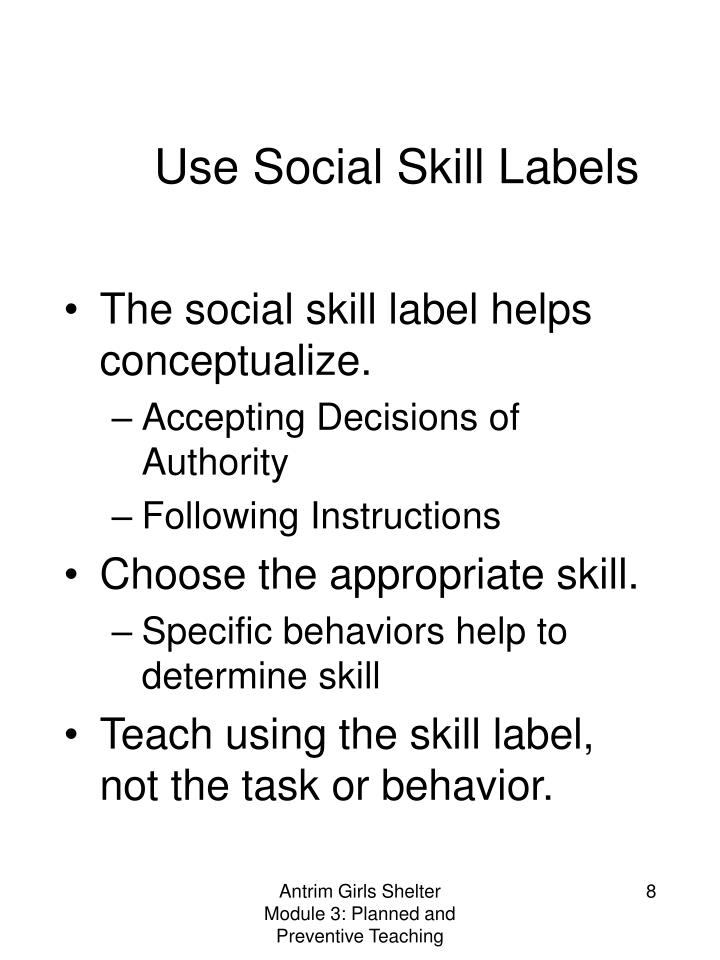 Use Social Skill Labels