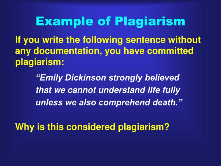 Example of Plagiarism