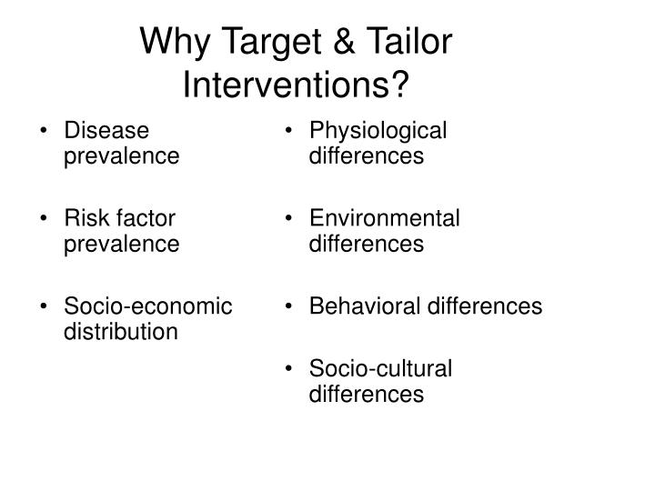 Why Target & Tailor Interventions?