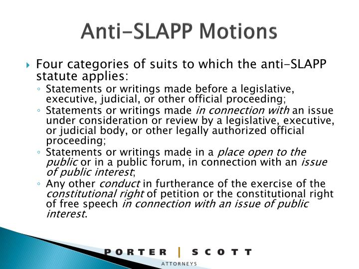 Anti-SLAPP Motions