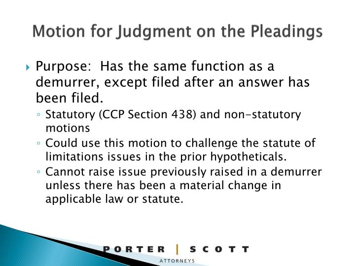 Motion for Judgment on the Pleadings