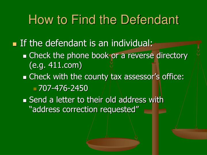 How to Find the Defendant