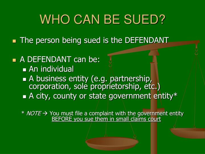 WHO CAN BE SUED?