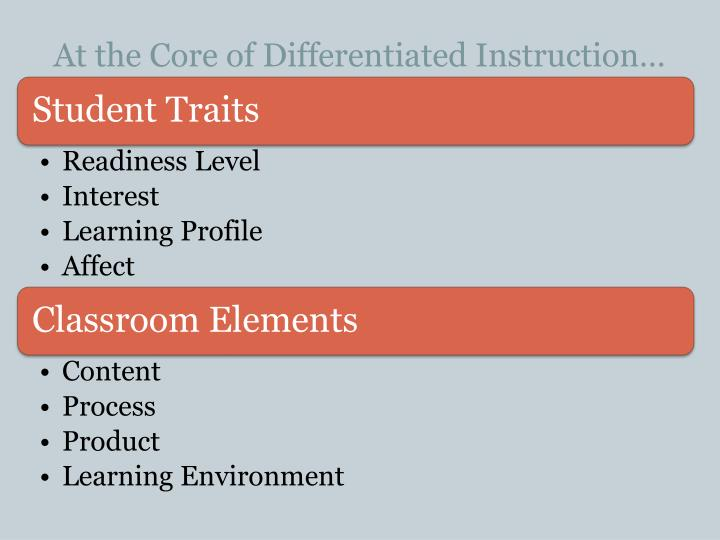 At the Core of Differentiated Instruction…