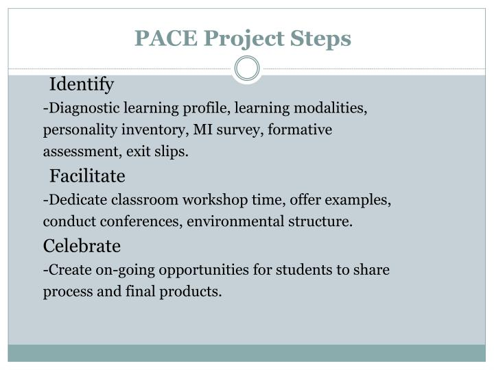 PACE Project Steps