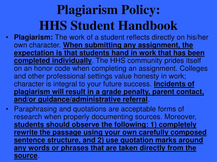 Plagiarism Policy: