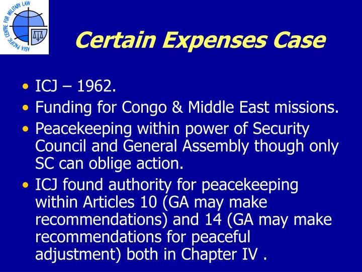 Certain Expenses Case