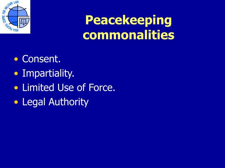 Peacekeeping commonalities