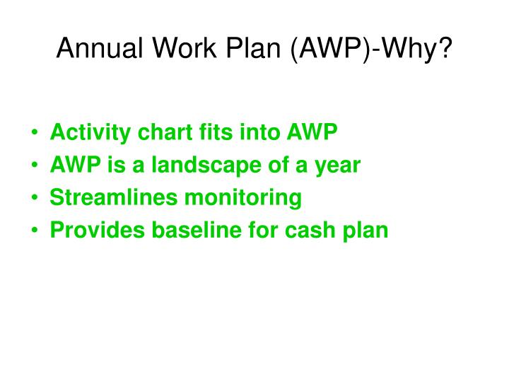 Annual Work Plan (AWP)-Why?