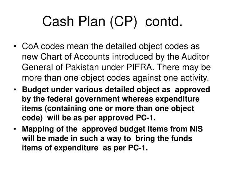 Cash Plan (CP)  contd.
