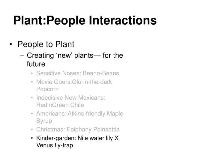 Plant:People Interactions
