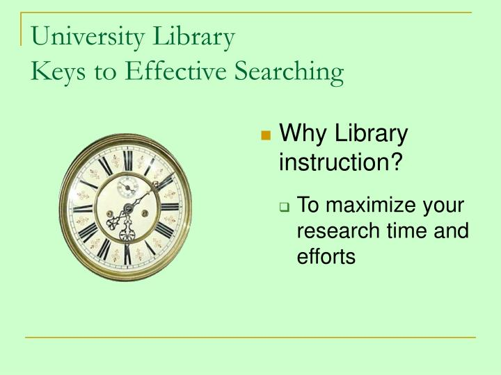 University library keys to effective searching2