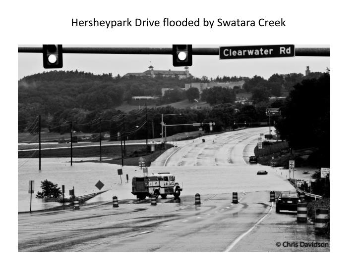 Hersheypark Drive flooded by Swatara Creek
