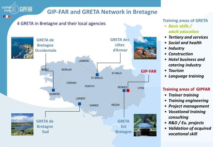 Training areas of GRETA
