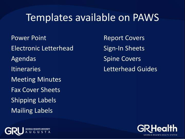 Templates available on PAWS