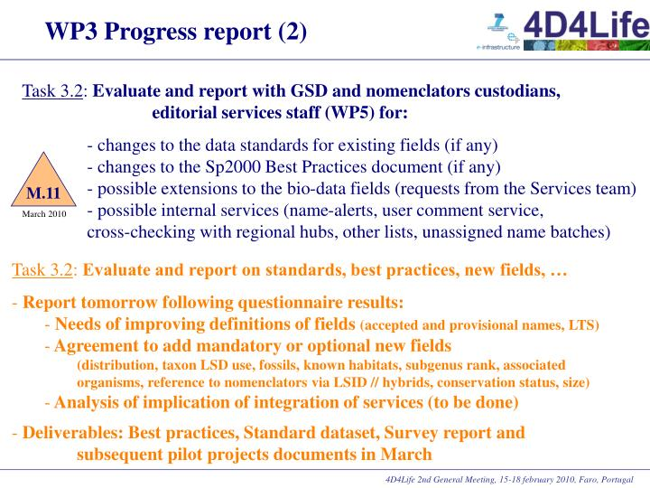 WP3 Progress report (2)