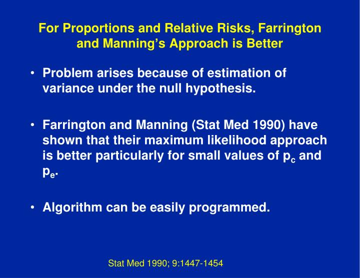 For Proportions and Relative Risks, Farrington and Manning's Approach is Better