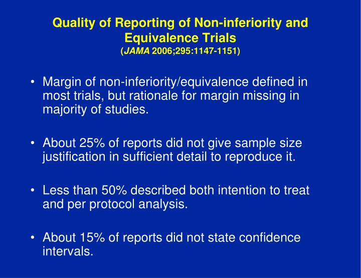 Quality of Reporting of Non-inferiority and Equivalence Trials