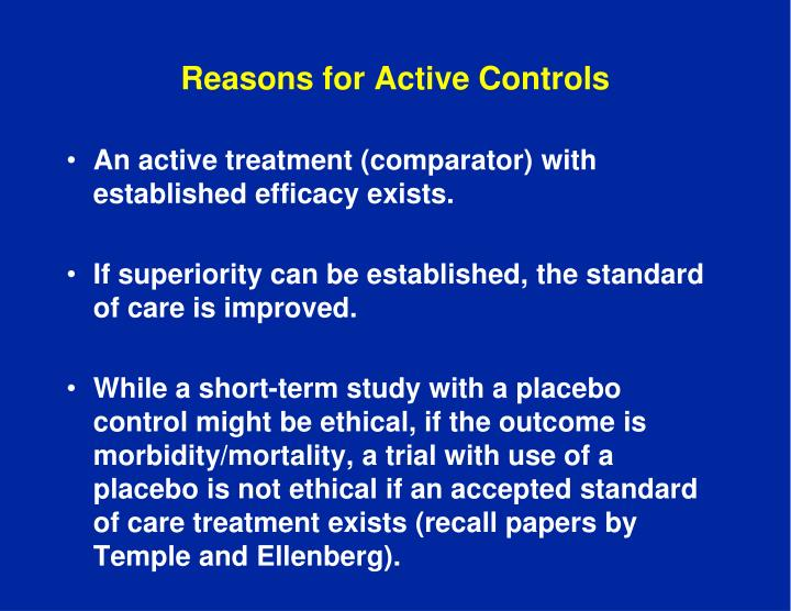 Reasons for Active Controls